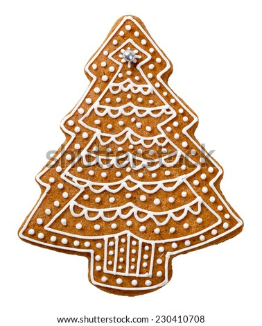 Gingerbread cookie in shape of tree for Christmas isolated on white background - stock photo