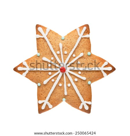 Gingerbread cookie in snowflake shape isolated on white background
