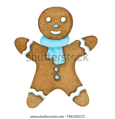 Gingerbread cookie man. Homemade festive pastries. watercolor illustration isolated object on a white background.