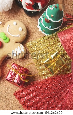 Gingerbread cookie with christmas decoration
