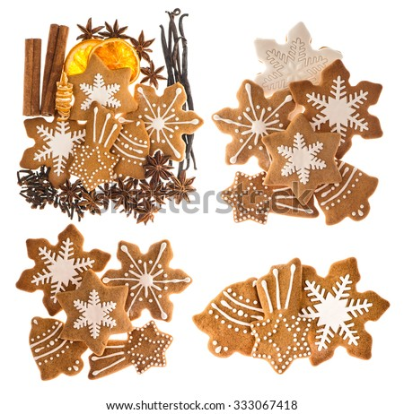 Gingerbread cookies and spices isolated on white background. Sweet Christmas food. Cinnamon sticks, star anise, vanilla and cloves - stock photo