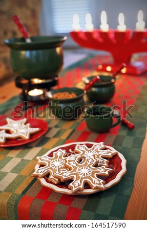 Gingerbread cookies and the Swedish Christmas tradition glogg. - stock photo