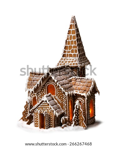 Gingerbread cookies Christmas house isolated on white background - stock photo