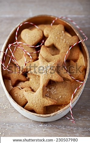 Gingerbread cookies in a box to give as a gift  - stock photo