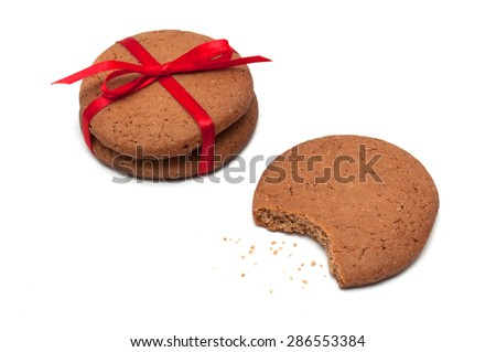 gingerbread cookies isolated on white background - stock photo