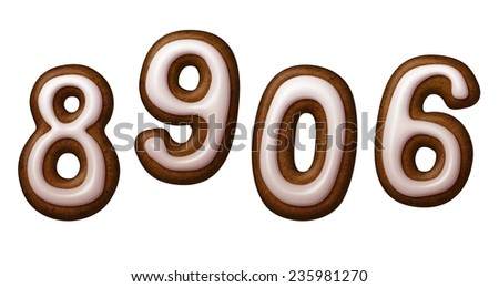 gingerbread cookies numbers decorated with sugar icing, illustration isolated on white background - stock photo
