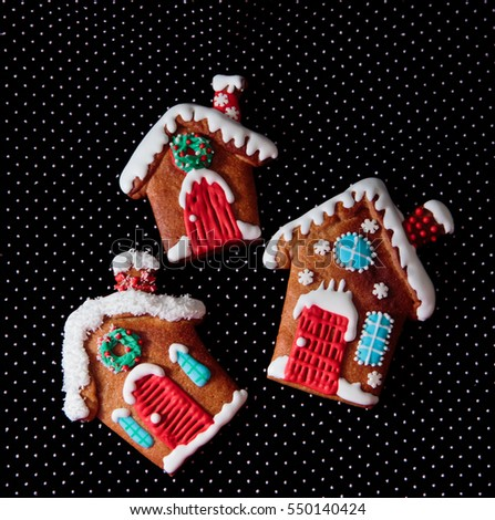 gingerbread cookies on dark background