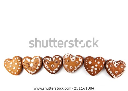 Gingerbread cookies on white background - stock photo