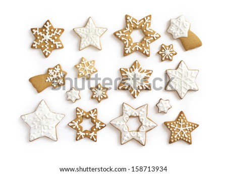 Gingerbread cookies on white background. Snowflake, star. Isolated white background. - stock photo