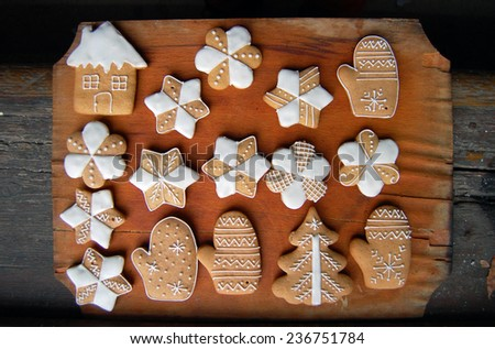 gingerbread cookies on wooden table  - stock photo