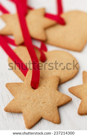 gingerbread Cookies to hang on the Christmas tree - stock photo