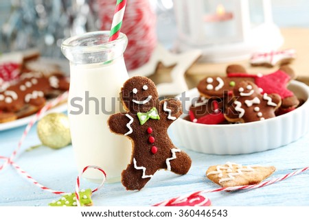 Gingerbread cookies with bottle of milk on a blue wooden table
