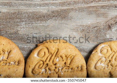 Gingerbread cookies with Merry Christmas text