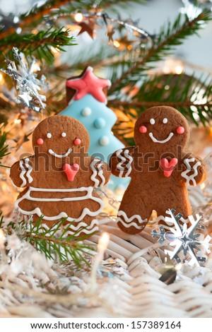Gingerbread couple - stock photo