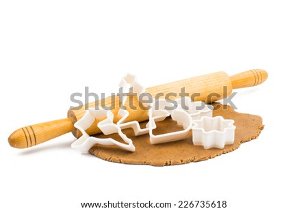 Gingerbread dough on a white background