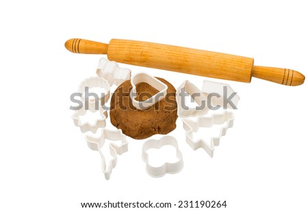 Gingerbread dough on a white background - stock photo