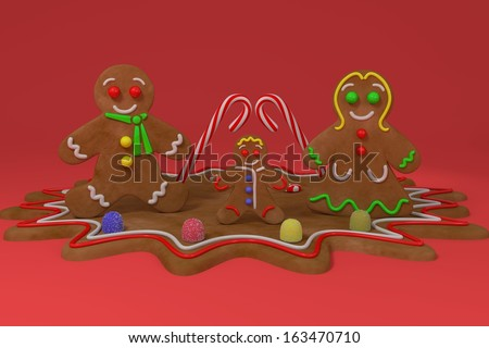 GingerBread Family - Illustration. - stock photo