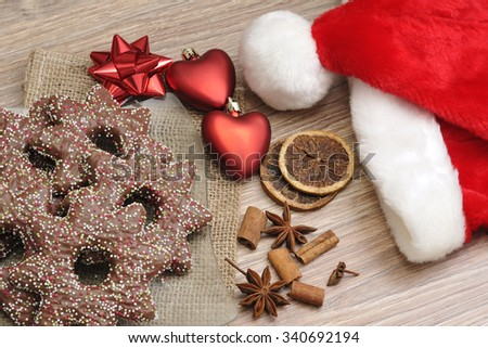 Gingerbread for Christmas with decorations.