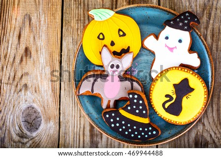 Gingerbread for Halloween. Funny Holiday Food for Children.Studio Photo