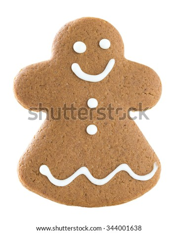 Gingerbread girl isolated on white background