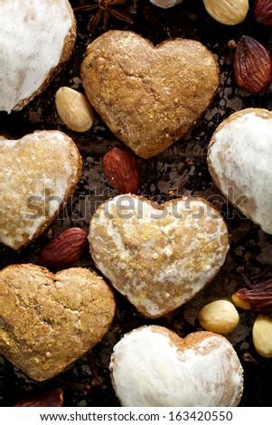 Gingerbread hearts - stock photo