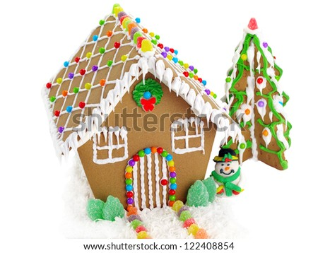 Gingerbread House and Christmas Tree on the White Background - stock photo