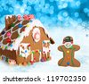 Gingerbread house and man on a festive Christmas snow background. - stock photo