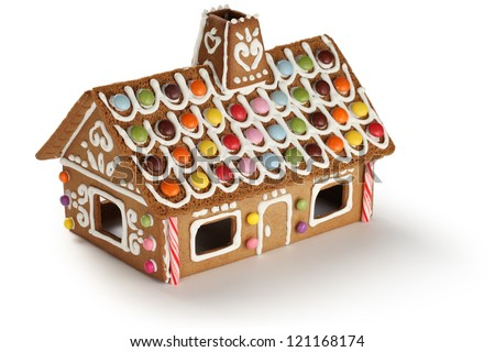 gingerbread house, candy house - stock photo