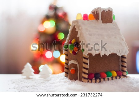Gingerbread house Christmas lights background - stock photo