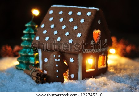 Gingerbread house illuminated - stock photo