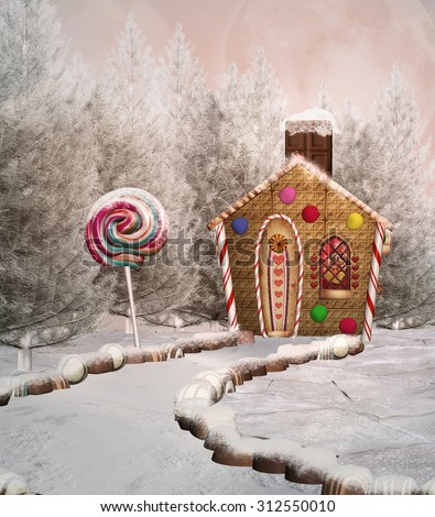 Gingerbread house in a winter scenery - stock photo