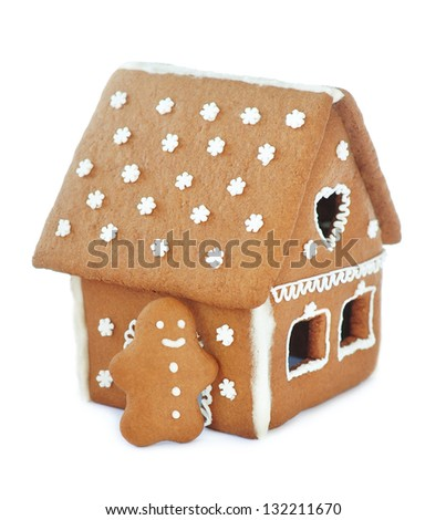 Gingerbread house, isolated - stock photo