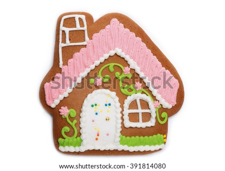 gingerbread house on an isolated background - stock photo