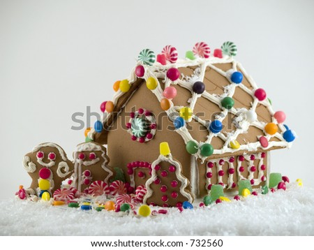 Gingerbread House on snow