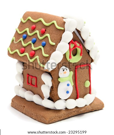 gingerbread house with snowman on white background - stock photo