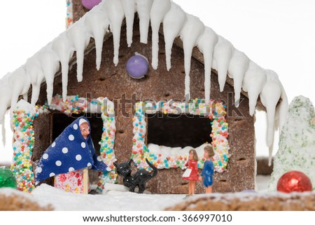 Gingerbread house with the fairy tale of Hansel and Gretel / Fairy tale - stock photo