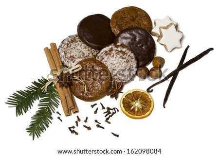 gingerbread isolated on white background - stock photo