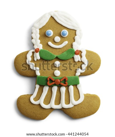 Gingerbread Lady Cookie With Braids and Skirt Isolated on White Background.