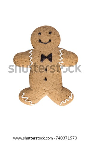 Gingerbread man Christmas and New Year cookie icon isolated on white background with clipping path