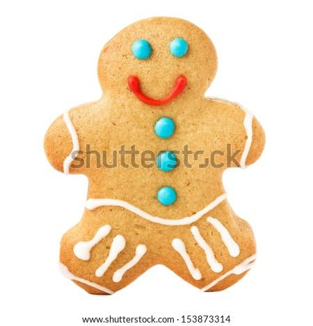 Gingerbread Man Christmas Cookie isolated on white background, closeup.