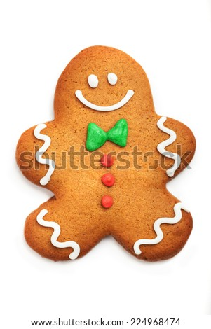 Gingerbread man cookie over white background - stock photo