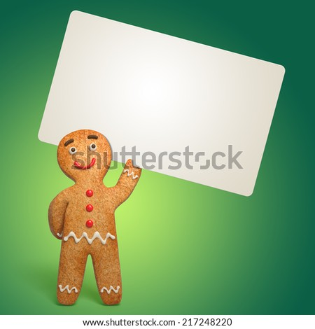 gingerbread man holding blank card, Christmas cooking template, 3d cartoon character illustration on green background - stock photo