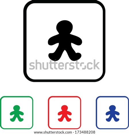 Gingerbread Man Icon Illustration with Four Color Variations - stock photo