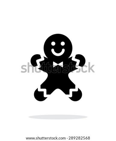 Gingerbread man icon on white background. - stock photo