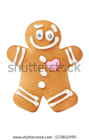 Gingerbread man, isolated - stock photo
