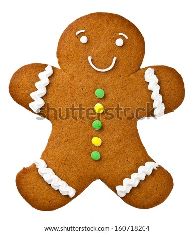 Gingerbread man isolated on white background. Christmas cookie - stock photo