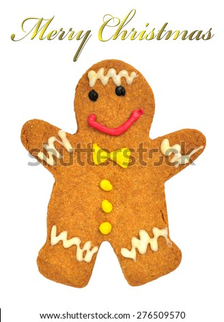 Gingerbread man isolated on white background, selective focus.
