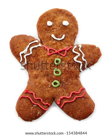 Gingerbread man on white background - stock photo