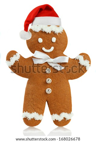 Gingerbread man Santa Claus hats - stock photo
