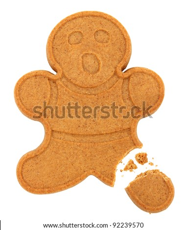 Gingerbread Man With Broken Leg Isolated On White Background - stock photo